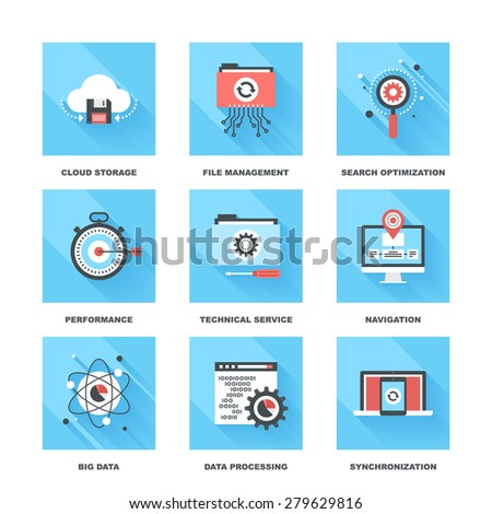 Vector set of flat data management icons on following themes - cloud storage, file management, search optimization, performance, technical service, navigation, big data, data processing, sync - stock vector