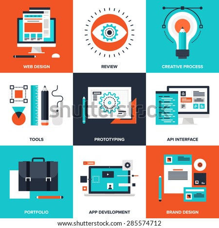 Vector set of flat design and development icons on following themes - web design, review, creative process, tools, prototyping, API interface, portfolio, app development, brand design - stock vector