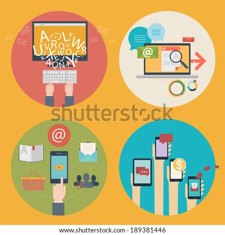 Vector set of flat design icons for blogging, web design, seo, social media. Business concept: online shopping, education, advertising, development, communications, analytics, mobile services and apps - stock vector