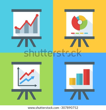 Vector set of flat diagram and chart icons on the board. Concept for business, presentation, infographic, report, statistics data, stock exchange, finance, strategy, trading charts, investment fund. - stock vector