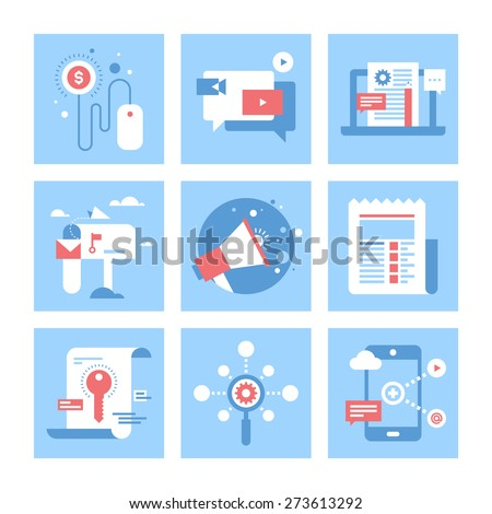 Vector set of flat digital marketing icons. Icon pack includes following themes - pay per click, video marketing, blog management, email marketing, promotion, news, keywording, SEO, mobile marketing - stock vector