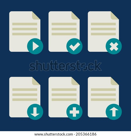 Vector set of Flat document icons - play, accept, close, download, add, upload design blue elements - stock vector