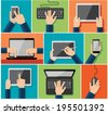 Vector set of flat hand icons holding various hi-tech computer and communication devices - stock photo