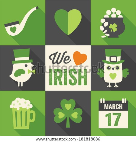 Vector set of 9 flat icon designs with long shadows for St. Patrick's Day in green, cream and black. - stock vector