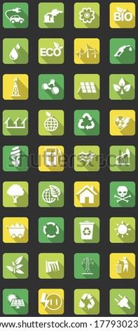 vector set of flat icons concerning to ecology, energy, alternative energy and sustainable development themes - stock vector