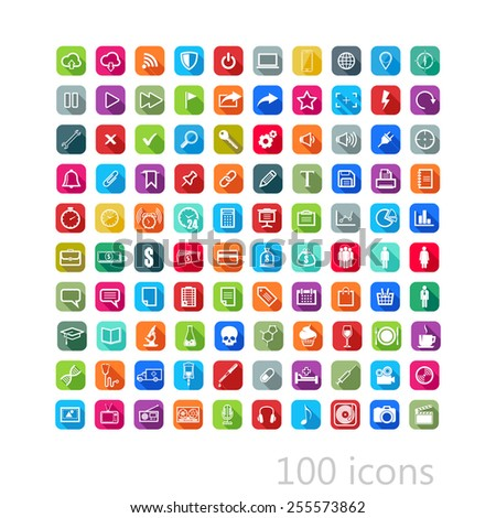 vector set of flat icons with long shadows for web, mobile or print design - stock vector