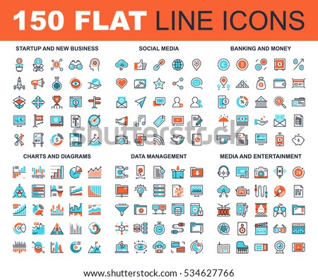 Vector set of 150 flat line web icons on following themes - startup and new business, social media, banking and money, charts and diagrams, data management, media and entertainment.