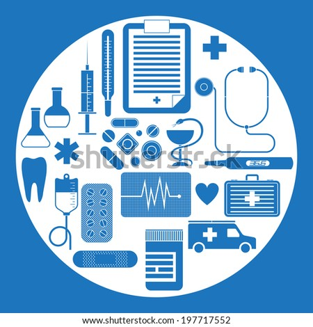 Vector set of flat medical icons isolated on white background - stock vector