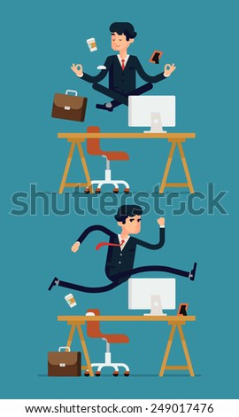 Vector set of flat modern business office worker character design depicting levitating businessman meditating in peace over his desk and hurdling businessman jumping over his table - stock vector