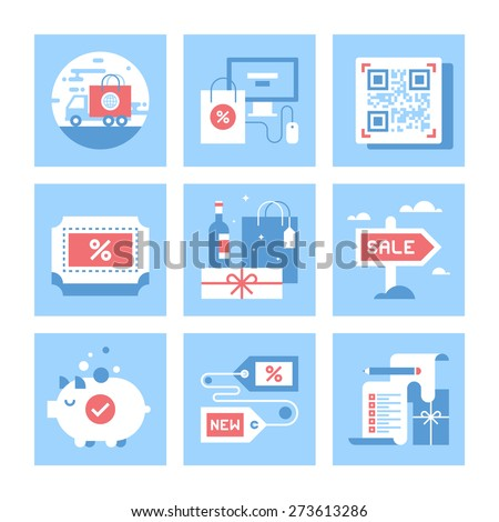 Vector set of flat shopping and commerce icons. Icon pack includes following themes - delivery, ecommerce, QR code, discount, holidays shopping, for sale, savings, new product, wish list - stock vector