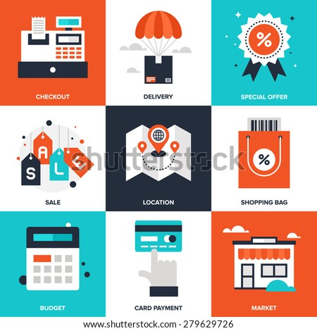 Vector set of flat shopping and commerce icons. Icon pack includes following themes - location, sale, retail, delivery, market, discount, budget, new product, card payment - stock vector