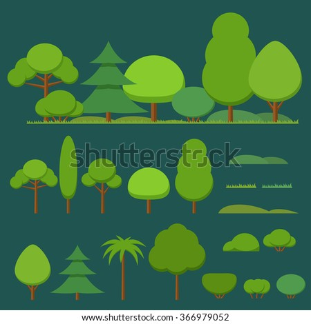 Vector set of flat trees, bushes and grass on a dark background - stock vector