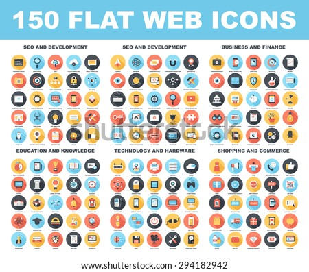 Vector set of 150 flat web icons with long shadow on following themes - SEO and development, business and finance, education and knowledge, technology and hardware, shopping and commerce. - stock vector