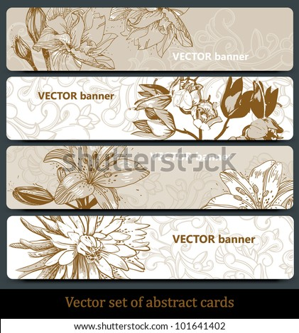 vector set of floral banners in a beige palette - stock vector