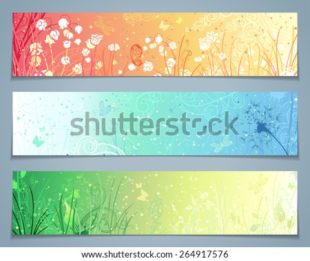 Vector set of floral banners. Three templates for your design. Dandelion, flowers, grass, butterflies in pastel colours. There are places for your text.  - stock vector