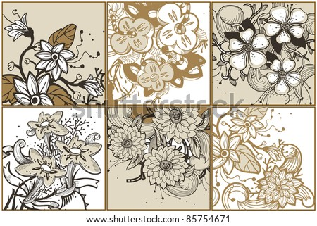 vector set of floral cards with blooming fantasy flowers - stock vector