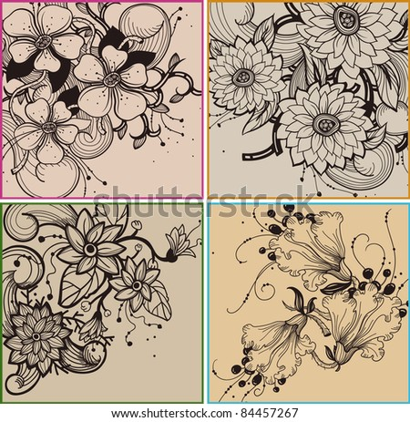 vector set of floral cards with fantasy blooming flowers - stock vector