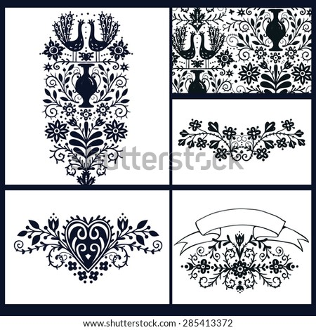 vector set of floral cards with vintage flowers, vases and peacocks  - stock vector