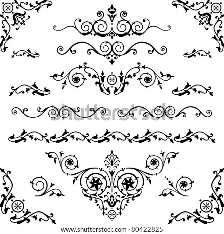Vector set of floral decorative elements and flourishes, elements are individually grouped for easy editing and color change. - stock vector