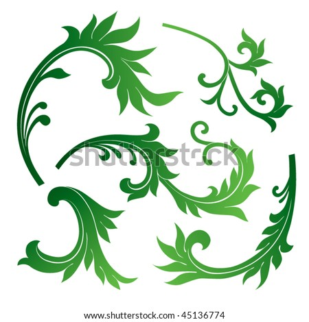 vector set of floral design elements - stock vector