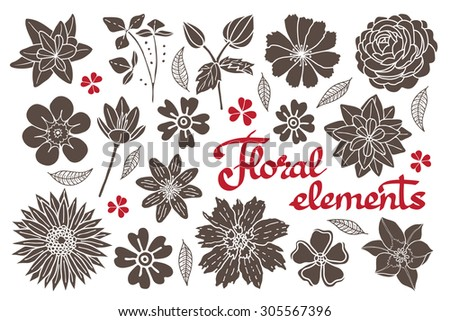 Vector set of floral elements. Decorative elements and embellishments. - stock vector