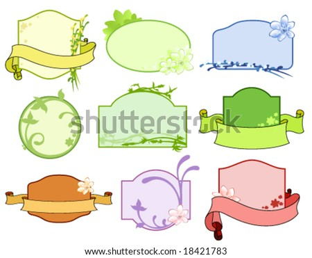 Vector set of floral labels - stock vector