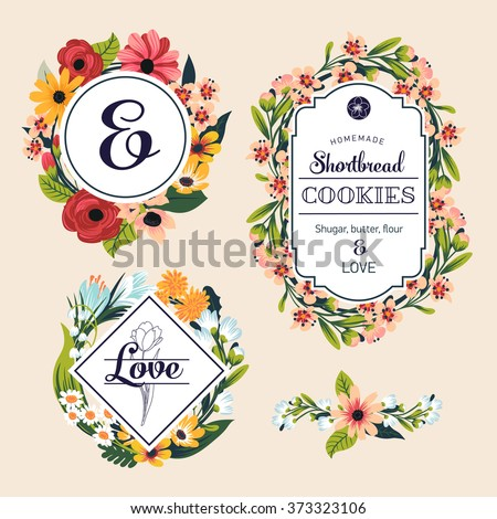 Vector set of floral retro style badges and labels. Collection of flower frames made of pink and white blossoms, roses, asters, dandelions, bellflowers, camomile on beige background - stock vector