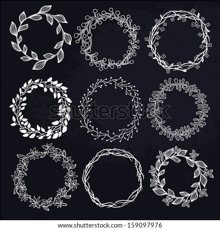 vector set of floral wreathes - stock vector