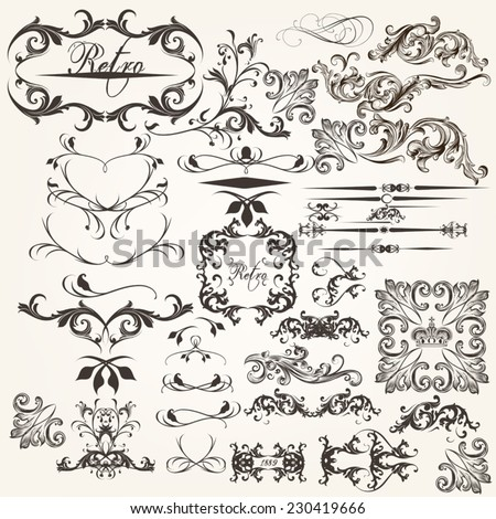 Vector set of flourishes for design. Calligraphic vector - stock vector