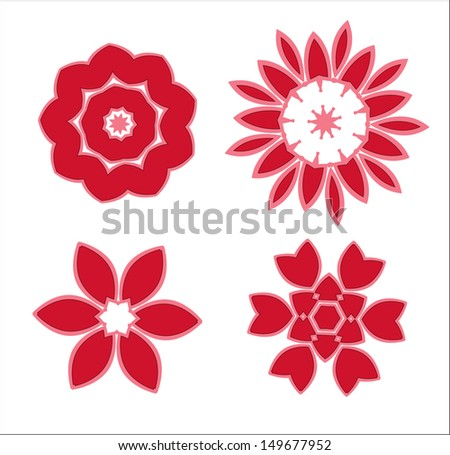 vector set of  flower icons isolated on white background - stock vector