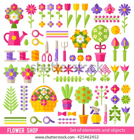 Vector set of flowers and florist tools in a flat style. Flower icons, bright ribbons, tools and bouquets. - stock vector