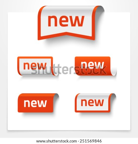Vector set of folded signs saying NEW - stock vector