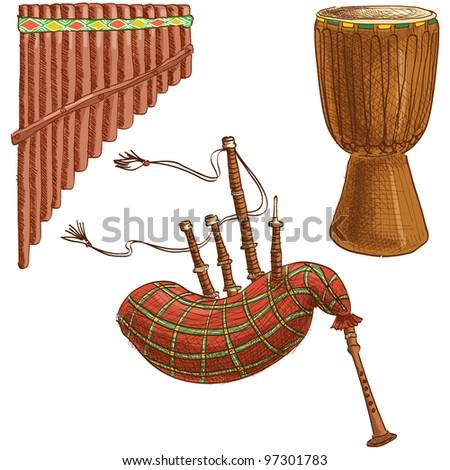 Vector set of folk musical instruments - stock vector