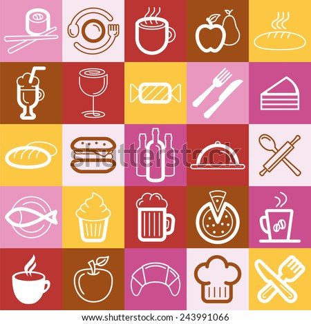 Vector set of food and cafe logos and signs - collection of graphic design elements - stock vector