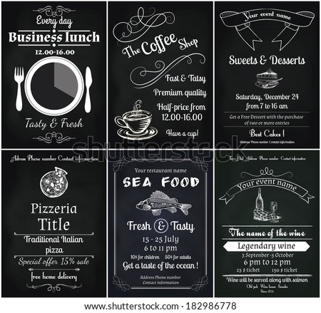 Vector Set 6 Food Flyers Including Stock Vector Royalty