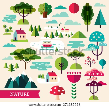 Vector set of forest plants and trees - stock vector