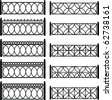 Vector set of forged metal lattices of fence - stock photo