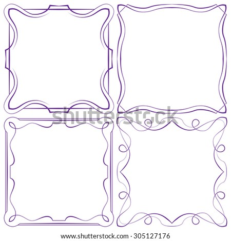 Vector set of four beautiful elegant framework - stock vector