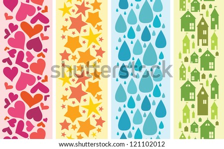 Vector set of four colorful horizontal seamless patterns backgrounds ornaments with hand drawn elements. - stock vector