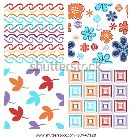 Vector set of four colorful modern seamless pattern - stock vector