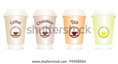 Vector set of four cups with drinks to go