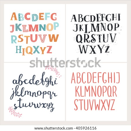 Vector set of four difference english Alphabets. Cute colorful vector English alphabet, vintage font, funny hand written font and capital ABC. Lowercase and uppercase letters  - stock vector