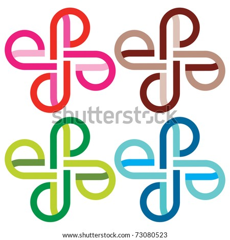 Vector set of four different colorful symbol - stock vector