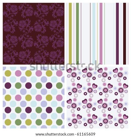 Vector set of four different seamless pattern - stock vector