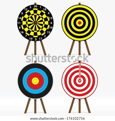 vector set of four different targets - stock vector