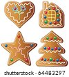vector set of four gingerbread cookies - stock vector