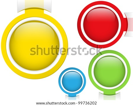 Vector - Set of Four Glass Circle Buttons - stock vector