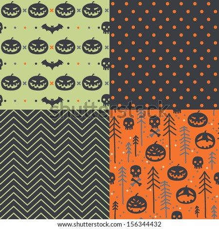 Vector set of four halloween seamless patterns. Cartoon bats, pumpkins, trees. Halloween elements for scrap-booking. Hand drawn vector illustration.  - stock vector