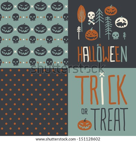 Vector set of four halloween seamless patterns. Cartoon pumpkinsand skulls. Halloween elements for scrap-booking. Hand drawn vector illustration. Trick or treat. - stock vector