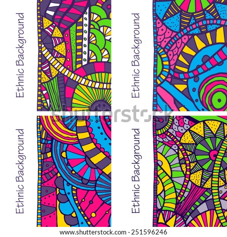 Vector set of four hand drawing doddle ethnic patterns. Background with geometric elements. Eps10 - stock vector